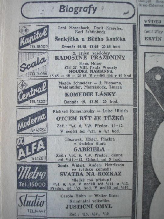 """Zdroj: Projekt """"Filmové Brno"""", Ústav filmu a audiovizuální kultury, Filozofická fakulta, Masarykova univerzita, Brno. Denní tisk z 20.08.1943. - http://www.phil.muni.cz/filmovebrno"""