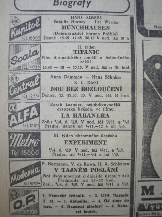 zdroj: Ústav filmu a audiovizuální kultury na Filozofické fakultě, Masarykova Univerzita, denní tisk z 17.09.1943