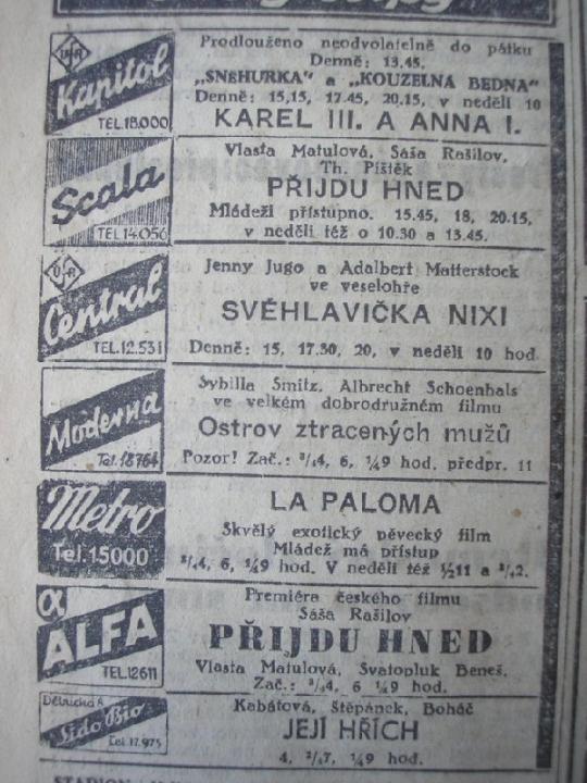 """Zdroj: Projekt """"Filmové Brno"""", Ústav filmu a audiovizuální kultury, Filozofická fakulta, Masarykova univerzita, Brno. Denní tisk z 04.12.1942. - http://www.phil.muni.cz/filmovebrno"""