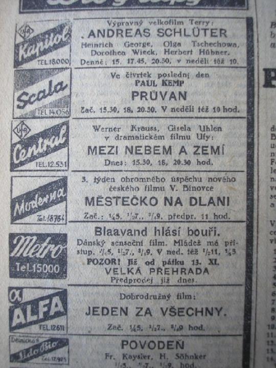 """Zdroj: Projekt """"Filmové Brno"""", Ústav filmu a audiovizuální kultury, Filozofická fakulta, Masarykova univerzita, Brno. Denní tisk z 14.11.1942. - http://www.phil.muni.cz/filmovebrno"""