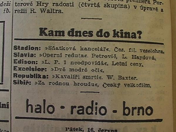 zdroj: Ústav filmu a audiovizuální kultury na Filozofické fakultě, Masarykova Univerzita, denní tisk z 16.06.1933