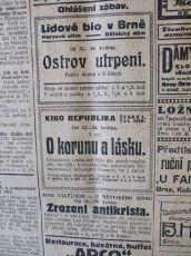 """Zdroj: Projekt """"Filmové Brno"""", Ústav filmu a audiovizuální kultury, Filozofická fakulta, Masarykova univerzita, Brno. Denní tisk (Rovnost)  z 23.05.1924. - http://www.phil.muni.cz/filmovebrno"""