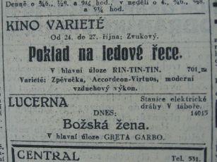 zdroj: Ústav filmu a audiovizuální kultury na Filozofické fakultě, Masarykova Univerzita, Brno; denní tisk ze dne 24.10.1930
