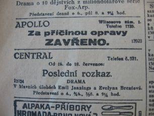 zdroj: Ústav filmu a audiovizuální kultury na Filozofické fakultě, Masarykova Univerzita, denní tisk z 16.07.1929