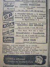 """Zdroj: Projekt """"Filmové Brno"""", Ústav filmu a audiovizuální kultury, Filozofická fakulta, Masarykova univerzita, Brno. Denní tisk z 21.12.1943. - http://www.phil.muni.cz/filmovebrno"""