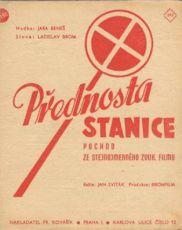 """přebal k vydání pochodu """"Přednosta stanice"""" ze stejnojmenného filmu, nakl. Fr. Kovařík, Praha"""