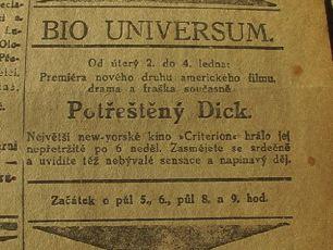 zdroj: Ústav filmu a audiovizuální kultury na Filozofické fakultě, Masarykova Univerzita, denní tisk z 04.01.1923