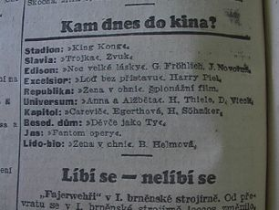 zdroj: Ústav filmu a audiovizuální kultury na Filozofické fakultě, Masarykova Univerzita, denní tisk z  17.11.1933