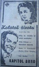 """Zdroj: Projekt """"Filmové Brno"""", Ústav filmu a audiovizuální kultury, Filozofická fakulta, Masarykova univerzita, Brno. Denní tisk z 09.04.1943. - http://www.phil.muni.cz/filmovebrno"""