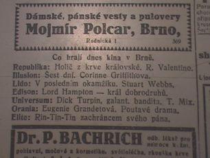 program na sobotu 28.11.1925; zdroj: Ústav filmu a audiovizuální kultury na Filozofické fakultě, Masarykova Univerzita, Brno