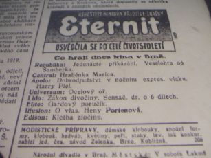zdroj: Ústav filmu a audiovizuální kultury na Filozofické fakultě, Masarykova Univerzita, denní tisk z 13.03.1926