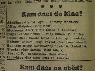 zdroj: Ústav filmu a audiovizuální kultury na Filozofické fakultě, Masarykova Univerzita, denní tisk z 25.04.1935