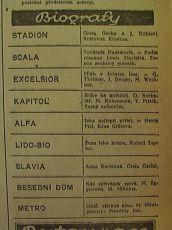 zdroj: Ústav filmu a audiovizuální kultury na Filozofické fakultě, Masarykova Univerzita, denní tisk z 25.06.1937