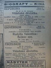zdroj: Ústav filmu a audiovizuální kultury na Filozofické fakultě, Masarykova Univerzita, denní tisk z 27.11.1926