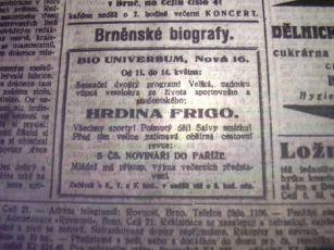 """Zdroj: Projekt """"Filmové Brno"""", Ústav filmu a audiovizuální kultury, Filozofická fakulta, Masarykova univerzita, Brno. Denní tisk z 11.05.1928. - http://www.phil.muni.cz/filmovebrno"""
