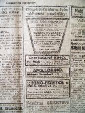 zdroj: Ústav filmu a audiovizuální kultury na Filozofické fakultě, Masarykova Univerzita, denní tisk z února 1920
