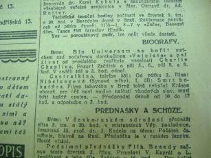 """Zdroj: Projekt """"Filmové Brno"""", Ústav filmu a audiovizuální kultury, Filozofická fakulta, Masarykova univerzita, Brno. Denní tisk z 02.10.1924. - http://www.phil.muni.cz/filmovebrno"""