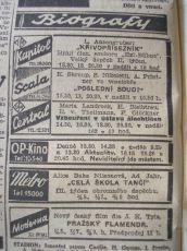 """Zdroj: Projekt """"Filmové Brno"""", Ústav filmu a audiovizuální kultury, Filozofická fakulta, Masarykova univerzita, Brno. Denní tisk z  13.02.1942. - http://www.phil.muni.cz/filmovebrno"""