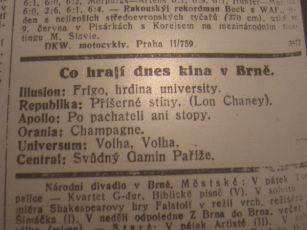 """Zdroj: Projekt """"Filmové Brno"""", Ústav filmu a audiovizuální kultury, Filozofická fakulta, Masarykova univerzita, Brno. Denní tisk z 01.06.1929. - http://www.phil.muni.cz/filmovebrno"""