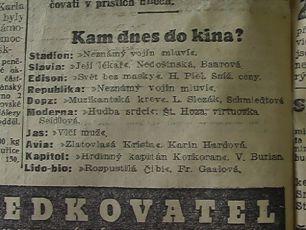 """Zdroj: Projekt """"Filmové Brno"""", Ústav filmu a audiovizuální kultury, Filozofická fakulta, Masarykova univerzita, Brno. Denní tisk z  03.10.1934. - http://www.phil.muni.cz/filmovebrno"""