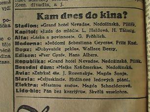 zdroj: Ústav filmu a audiovizuální kultury na Filozofické fakultě, Masarykova Univerzita, denní tisk z 08.03.1935