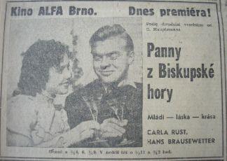 """Zdroj: Projekt """"Filmové Brno"""", Ústav filmu a audiovizuální kultury, Filozofická fakulta, Masarykova univerzita, Brno. Denní tisk z  28.05.1943. - http://www.phil.muni.cz/filmovebrno"""