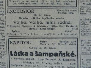 "Zdroj: Projekt ""Filmové Brno"", Ústav filmu a audiovizuální kultury, Filozofická fakulta, Masarykova univerzita, Brno. Lidové noviny, 539, pátek 24.10.1930. - http://www.phil.muni.cz/filmovebrno"
